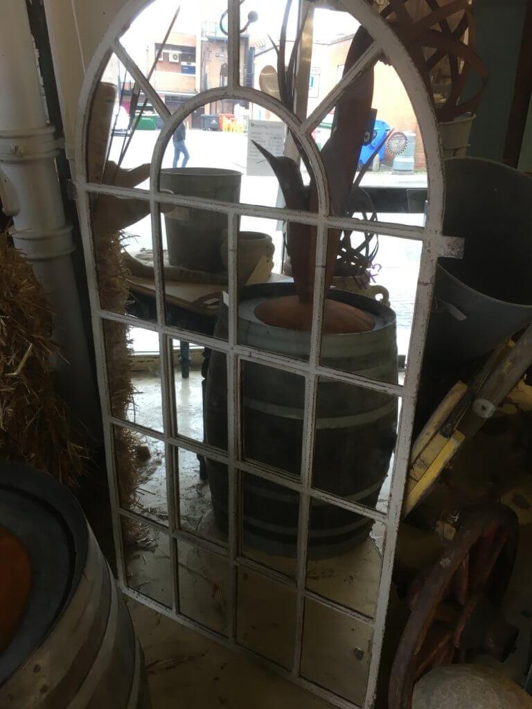 Large Cast Iron Window Frame Mirror Ark Vintage
