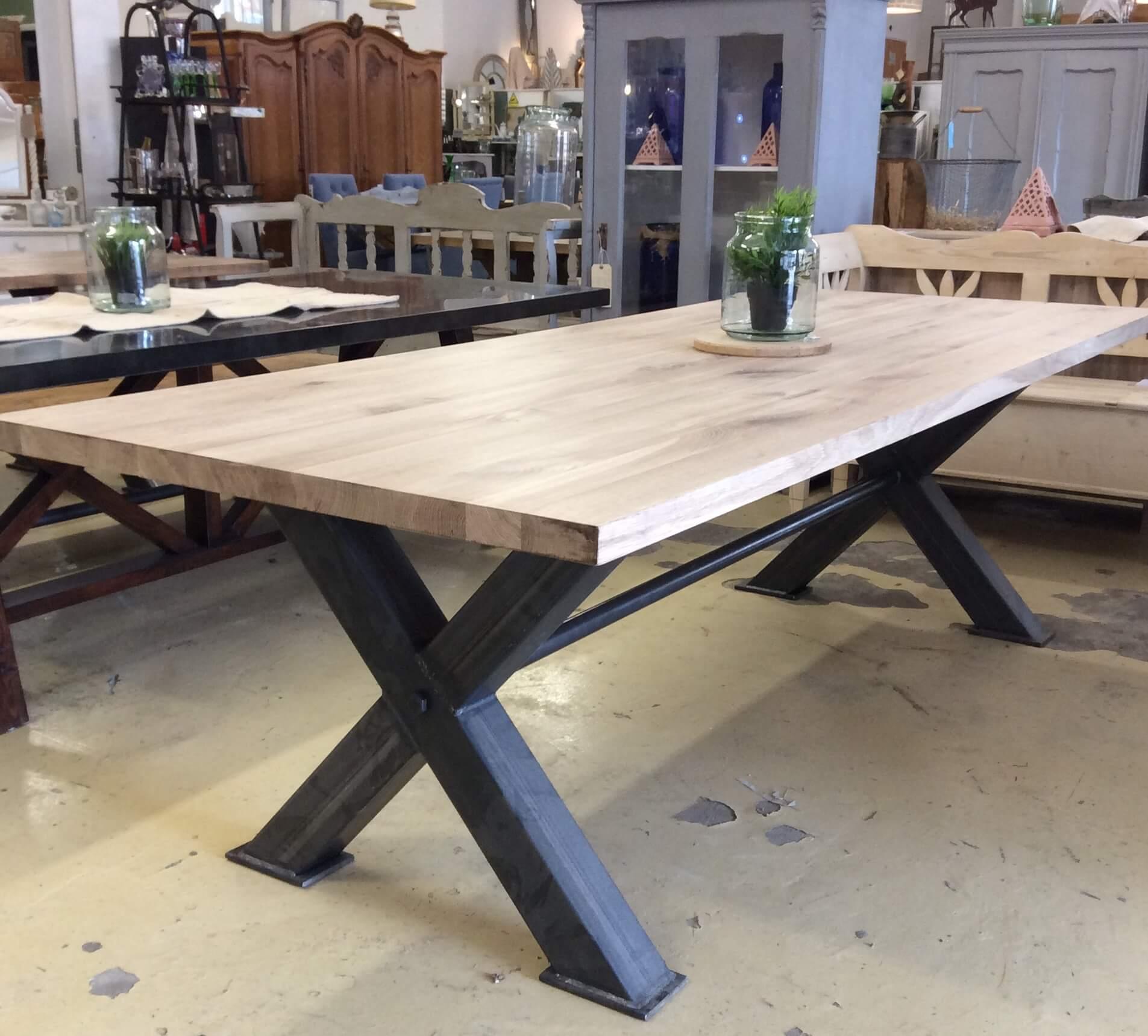 Box steel oak top dining table ark vintage vintage for Unusual oak dining tables